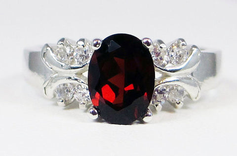 Oval Mozambique Garnet Ring Sterling Silver, January Birthstone Ring, Oval Garnet Ring, Engagement Ring, Multi Stone Ring, 925 Ring