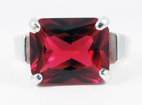 Ruby Emerald Side Set Ring, 925 Sterling Silver, July Birthstone Ring, Emerald Cut Ruby Ring, Red Ruby Ring, 925 Ruby Ring