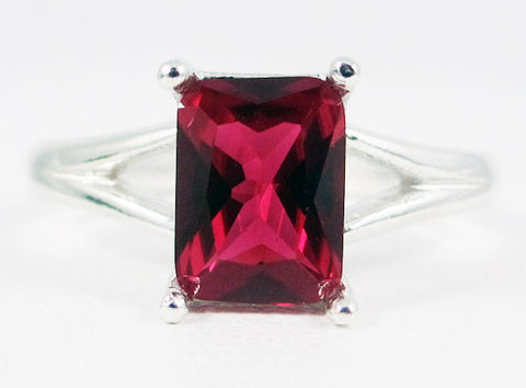 Ruby Emerald Cut Ring, 925 Sterling Silver, July Birthstone Ring, Emerald Cut Ruby Ring, 925 Ruby Ring, Radiant Ruby Ring