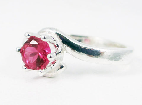 Ruby Bypass Solitaire Ring, 925 Sterling Silver, July Birthstone Ring, Ruby Solitaire Ring, Sterling Silver Solitaire Ring, 925 Ruby Ring