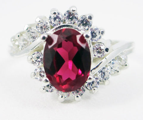Ruby and CZ Swirl Ring, 925 Sterling Silver, July Birthstone Ring, Ruby CZ Accent Ring, 925 Ruby Ring, Lab Created Ruby Oval Ring
