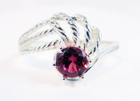Ruby Swirl Ring, 925 Sterling Silver, July Birthstone Ring, Twisted Sterling Silver Ring, Ruby Solitaire Ring, 925 Ruby Ring, Red Ruby