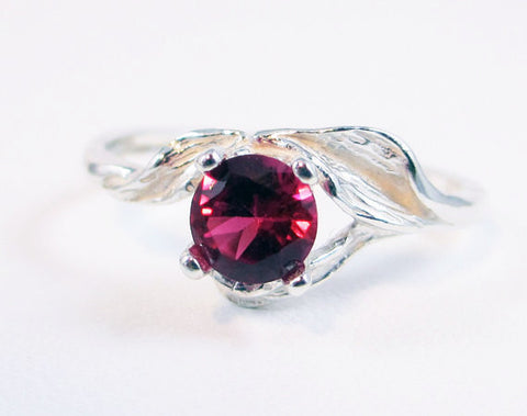 925 Ruby Leaf Ring Sterling Silver, July Birthstone Ring, Sterling Leaf Ring, 925 Ruby Ring, Sterling Silver Ruby Ring