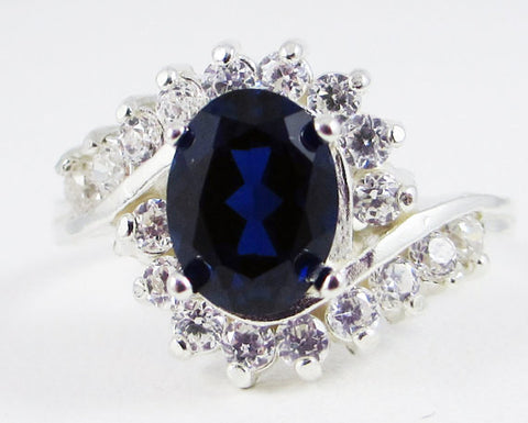 Blue Sapphire and White CZ Ring Sterling Silver, September Birthstone Ring, Large Sapphire Oval Ring, Blue Sapphire Ring