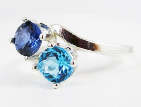 Blue Sapphire and Swiss Blue Topaz Ring Sterling Silver, December and September Birthstone Ring, Two Stone Ring, Swiss Blue Topaz Ring