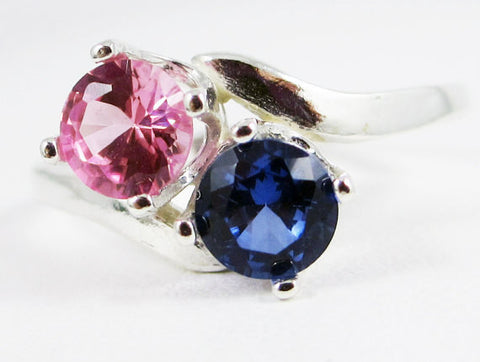 Blue and Pink Sapphire Two Stone Ring Sterling Silver, September Birthstone Ring, Two Stone Ring, Pink Blue Sapphire Ring