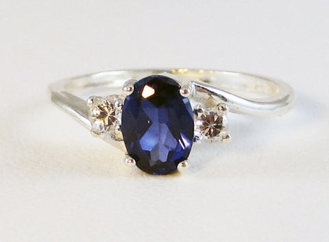 Oval Blue Sapphire Ring Sterling Silver, September Birthstone Ring, 925 Blue Sapphire Ring, Small Sapphire Oval Ring, 925 Sterling Ring