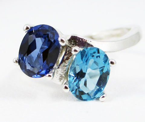 Blue Sapphire and London Blue Topaz Oval Ring Sterling Silver, September Birthstone Ring, Two Stone Ring, London Blue Topaz Oval Ring