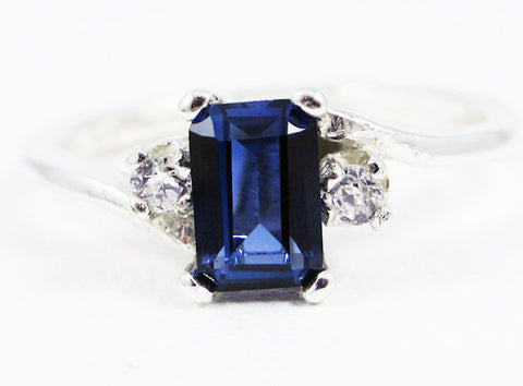 Blue Sapphire and CZ Accent Ring Sterling Silver, September Birthstone Ring, Emerald Cut Blue Sapphire Ring, 925 Blue Sapphire Ring