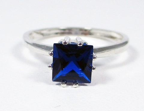 Blue Sapphire Princess Ring Sterling Silver, September Birthstone Ring, Square Cut Blue Sapphire Ring, Princess Cut Sapphire Ring