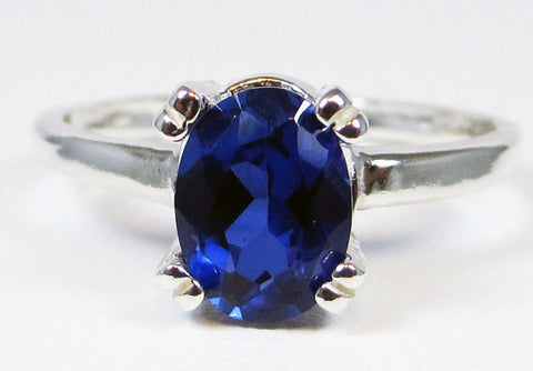 Blue Sapphire Oval Ring Sterling Silver, September Birthstone Ring, Oval Sapphire Ring, 925 Blue Sapphire Ring