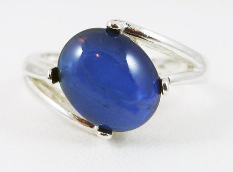 Blue Sapphire Oval Cabochon Ring Sterling Silver, September Birthstone Ring, Blue Sapphire Cabochon Ring, 925 Ring, Cabochon Ring