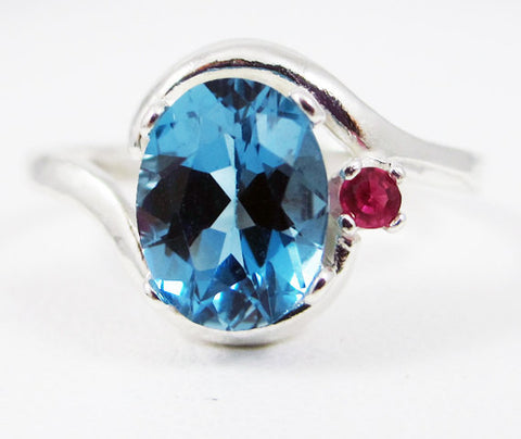 London Blue Topaz and Ruby Accent Ring Sterling Silver 925, December Birthstone Ring, Blue Topaz Oval Ring, Ruby Accent Ring