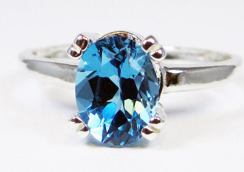 London Blue Topaz Oval Ring Sterling Silver 925, December Birthstone Ring, Oval Blue Topaz Ring, 925 Topaz Ring