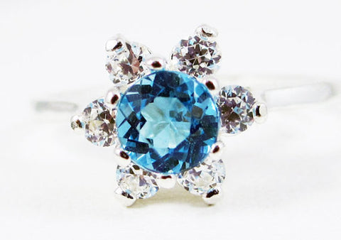 Swiss Blue Topaz Halo Ring Sterling Silver, December Birthstone Ring, Sterling Silver Halo Ring, Blue Topaz Ring