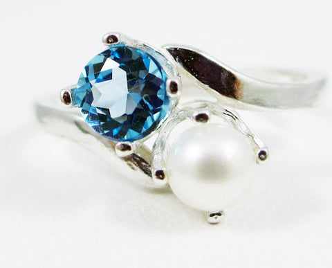 Swiss Blue Topaz and Pearl Ring Sterling Silver, December Birthstone Ring, White Pearl Ring, Two Stone Ring, Swiss Blue Topaz Ring