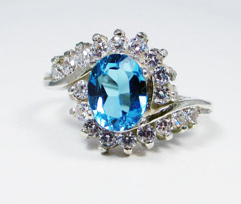 Swiss Blue Topaz and CZ Ring Sterling Silver 925, December Birthstone Ring, Swiss Topaz Ring, 925 Blue Topaz Oval Ring, Multi Stone Ring