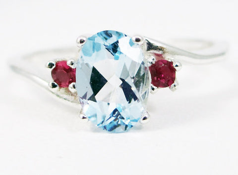 Sky Blue Topaz Oval and Ruby Accent Ring Sterling Silver 925, December Birthstone Ring, Oval Blue Topaz Ring, Sterling Silver Ring
