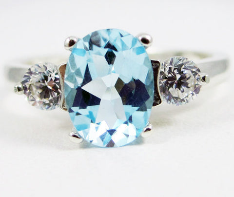 Sky Blue Topaz Oval and CZ Accent Ring Sterling Silver 925, December Birthstone Ring, Topaz Engagement Ring, Wedding Jewelry, 925 Topaz Ring