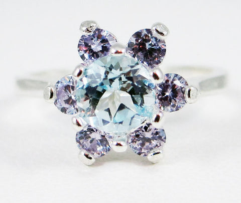 Sky Blue Topaz and Tanzanite CZ Halo Ring Sterling Silver 925, December Birthstone Ring, Sky Blue Topaz Halo Ring