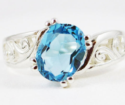 Sterling Silver Swiss Blue Topaz Oval Filigree Ring, December Birthstone Ring, Oval Blue Topaz Ring, Sterling Silver Filigree Ring