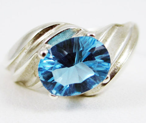 Swiss Blue Topaz Oval Swirl Ring Sterling Silver 925, December Birthstone Ring, Oval Blue Topaz Ring, Sterling Silver Ring