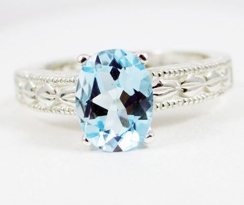 Sky Blue Topaz Oval Engraved Ring Sterling Silver, Oval Filigree Ring, Sky Blue Topaz Engraved Filigree Ring, 925 Blue Topaz Ring