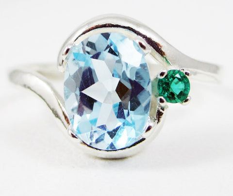 Sky Blue Topaz Oval and Emerald Accent Ring Sterling Silver 925, December Birthstone Ring, Sterling Sky Topaz Ring, 925 Blue Topaz Ring