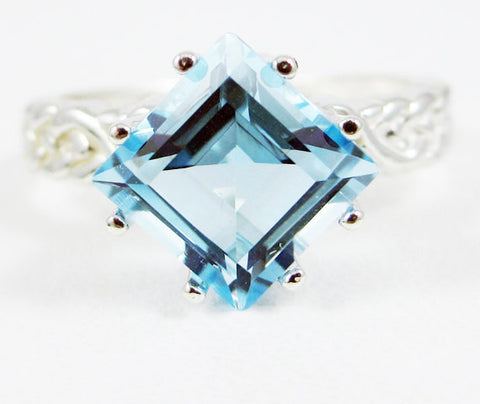 Sky Blue Topaz Braided Ring, 925 Sterling Silver, December Birthstone Ring, Princess Cut Topaz Ring, Sterling Sky Blue Topaz Ring, 925 Topaz
