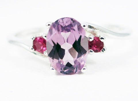 Alexandrite Oval and Ruby Accent Ring Sterling Silver