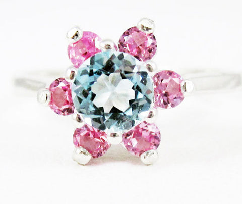 Sky Blue Topaz and Pink Sapphire Halo Ring Sterling Silver, December Birthstone Ring, 925 Blue Toapz Ring, Sterling Sky Blue Topaz Ring