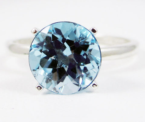 Large Sky Blue Topaz Solitaire Ring Sterling Silver 925, December Birthstone Ring, Large Solitaire Ring, Sterling Sky Topaz Ring, 925 Topaz