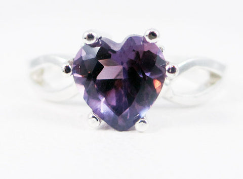 Alexandrite Heart Ring 925 Sterling Silver