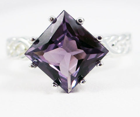 Princess Cut Alexandrite Braided Ring 925 Sterling Silver