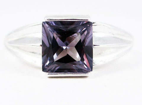 Color Change Alexandrite Square Princess Cut Ring Sterling Silver