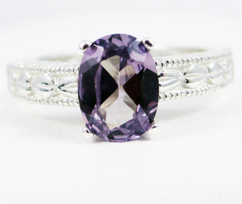 Alexandrite Oval Engraved Ring Sterling Silver