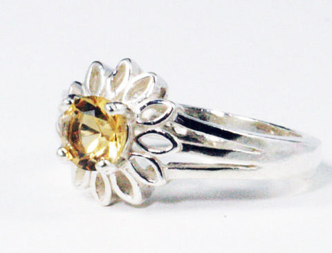 925 Citrine Sunflower Ring Sterling Silver