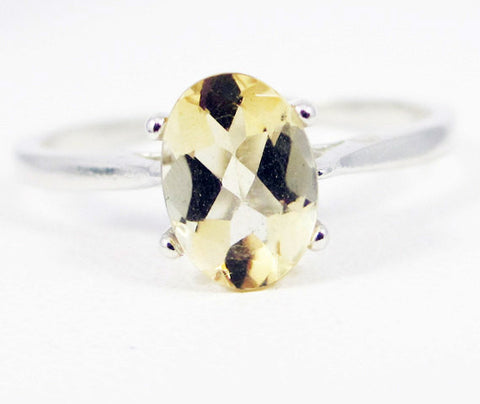 Citrine Oval Solitaire Ring Sterling Silver, November Birthstone Ring, Oval Citrine Ring, Yellow Golden Citrine Ring, 925 Citrine Ring
