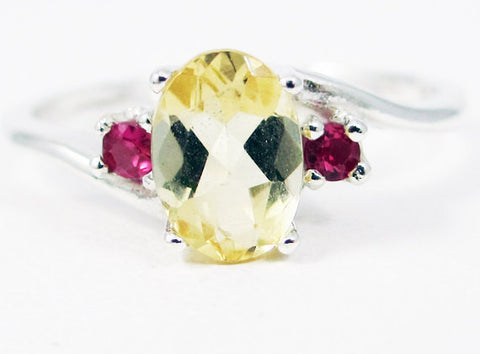 Citrine Oval and Ruby Accent Ring Sterling Silver, November Birthstone Ring, Yellow Golden Citrine Ring, Sterling Silver Ring, Ruby Accent