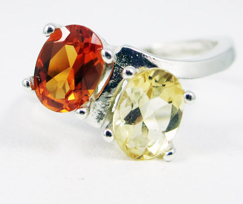 Citrine and Orange Sapphire Double Oval Ring Sterling Silver, November Birthstone Ring, Orange Sapphire Ring, Yellow Golden Citrine Ring