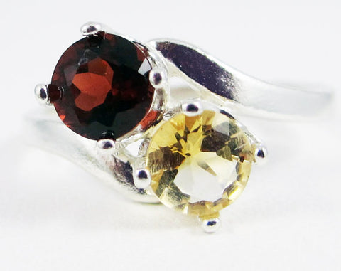 Citrine and Garnet Ring Sterling Silver, November Birthstone Ring, 925 Citrine Ring, Two Stone Ring, Citrine Garnet Ring, Sterling Silver