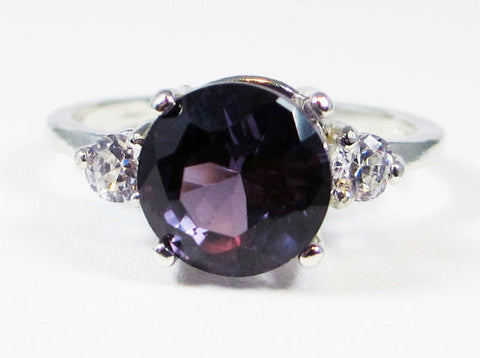 925 Alexandrite and CZ Three Stone Ring Sterling Silver