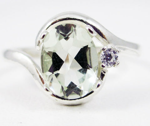 Green Amethyst Oval and White CZ Accent Ring Sterling Silver, Prasiolite Amethyst Ring, 925 Green Amethyst Ring, Sterling Oval Ring