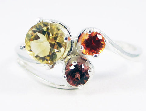 Sterling Citrine, Mozambique Garnet, and Orange Sapphire Ring, November Birthstone Ring, Mother's Ring, Three Stone Ring, Golden Citrine
