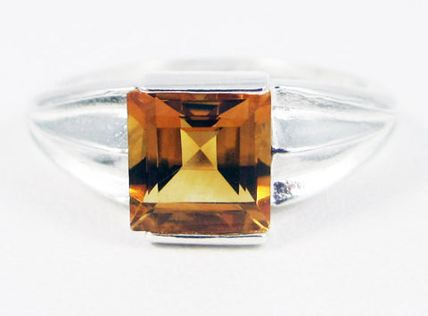 Golden Citrine Square Princess Cut Ring Sterling Silver, November Birthstone Ring, Orange Citrine Ring, Princess Cut Square Ring