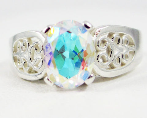 Mercury Mist Topaz Oval Filigree Ring Sterling Silver .925, Oval Rainbow Topaz Ring, Sterling Silver Ring, Oval Topaz Ring, 925 Topaz Ring