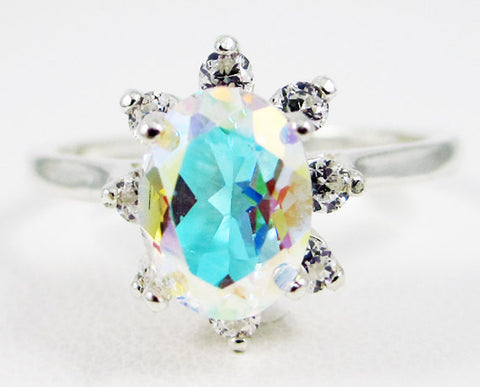 Mercury Mist Topaz Oval Halo Ring Sterling Silver, Rainbow Topaz Ring, Colorful Topaz Ring, Sterling Silver Ring, 925 Topaz Ring