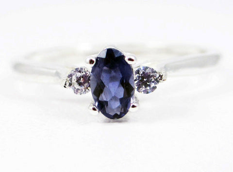 Small Iolite Oval and CZ Ring Sterling Silver, Water Sapphire Ring, Natural Iolite Ring, Oval Iolite Ring, Small Oval Accent Ring