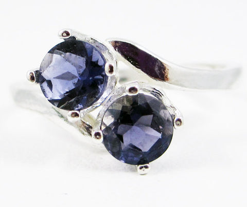 Iolite Two Stone Ring Sterling Silver, Water Sapphire Ring, Sterling Iolite Ring, 925 Two Stone Ring, 925 Iolite Ring