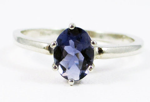 Iolite Oval Ring Sterling Silver, Water Sapphire Ring, Sterling Iolite Ring, Oval Iolite Ring, Sterling Silver Ring, 925 Sterling Ring